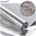 Thick Waterproof Anti-oil Aluminum Foil Self-adhesive Stickers Mats Sliver Wallpaper for Drawer Kitchen Bathroom B