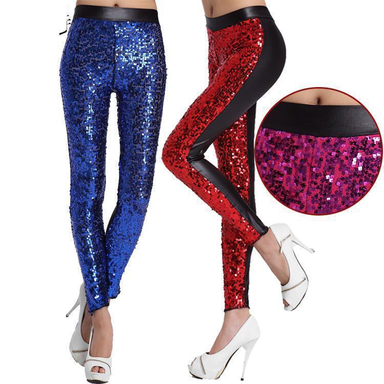 צבע מתכתי זהב גותי פאנק רוק סגנון אופנה סקסי נצנצים בהירים מכנסיים כושר מכנסיים חותלות עור מלאכותי PU לנשים
