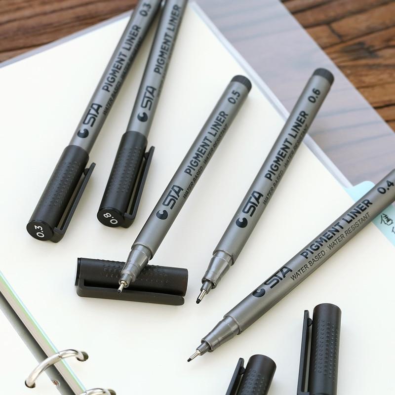 6 st / parti Mikrolinjen markörpenna för mangateckning skiss pigmentfoder 0,05 mm 0,1 mm 0,5 mm 0,8 mm Konstmaterial Skrivbord F124