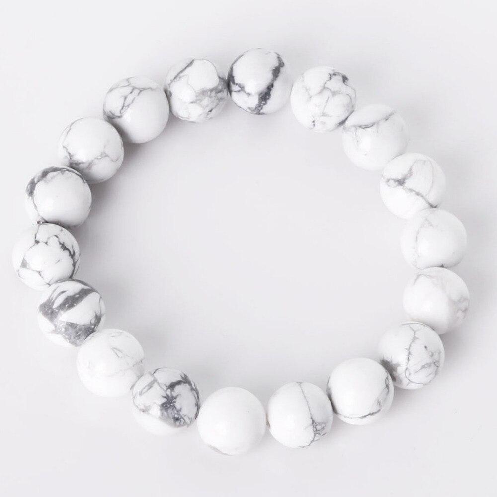 Charm Bracelet With Natural Stone Beads 6/8/10mm Matte Glaze White Howlite Beads Bracelet For Men & Women Jewelry Gift
