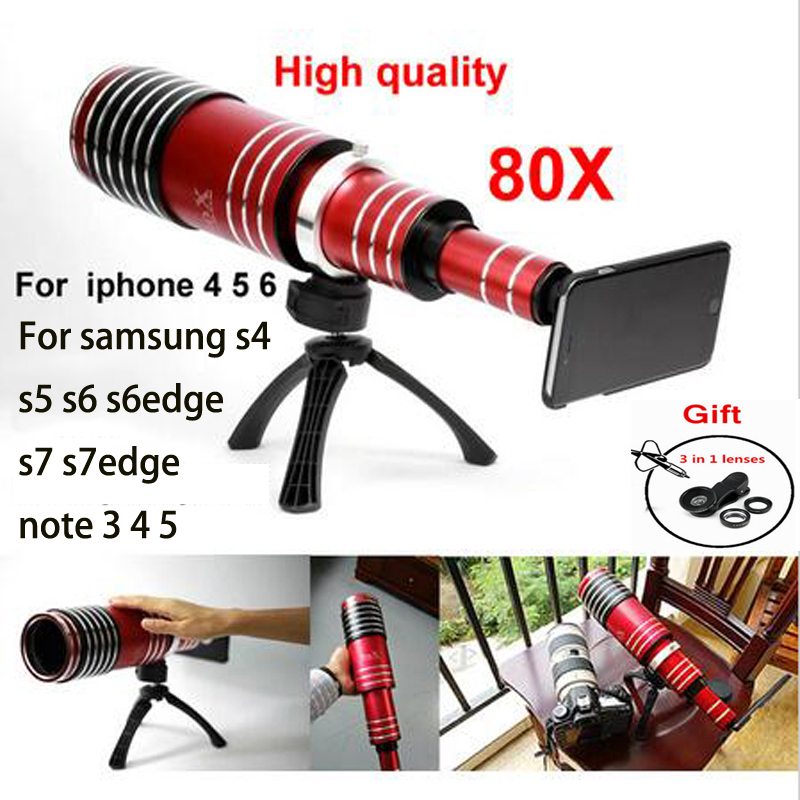 Newest 80x mobile phone Telescope Lens For iphone 5 5s 6 6S 6 plus Samsung galaxy S5 S6 edge S7 S7 edge note 3 4 5 Fisheye lens
