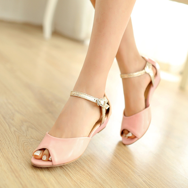 281c2db9381ab Ankle Strap Wedge Sandals Women 2014 Fashion Dress Shoes For Women Low Heel  Patent Leather Shoes Green Blue Pink LIY206