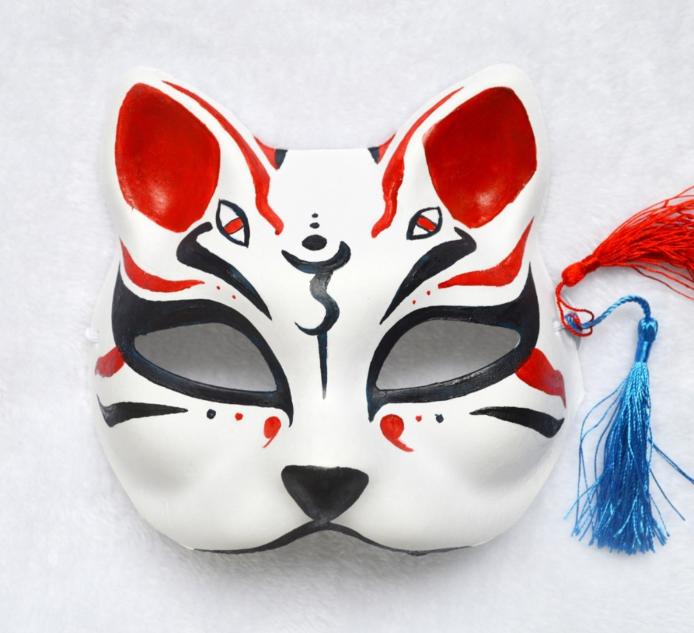 Half Face Hand Painted Japanese Style Fox Mask Kitsune