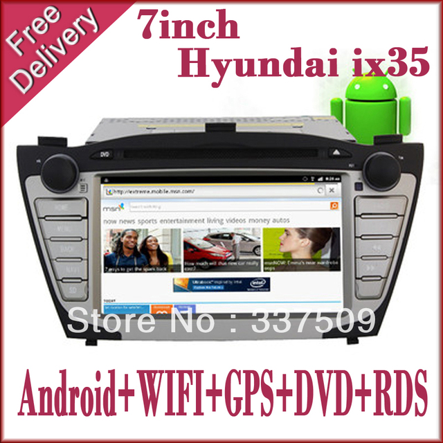 "FREE SHIPPING  Hyundai IX35 TUCSON 2DIN 7 ""android car pc Audio radio with Wifi 3G gps bluetooth AM FM AV TV Can-bus"