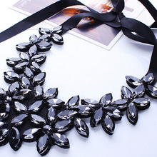 Crystal Necklace Women Crystal Flower Pendant Necklace Ribbon Choker Bib Collar Necklace-in Pendant Necklaces from Jewelry & Accessories on AliExpress