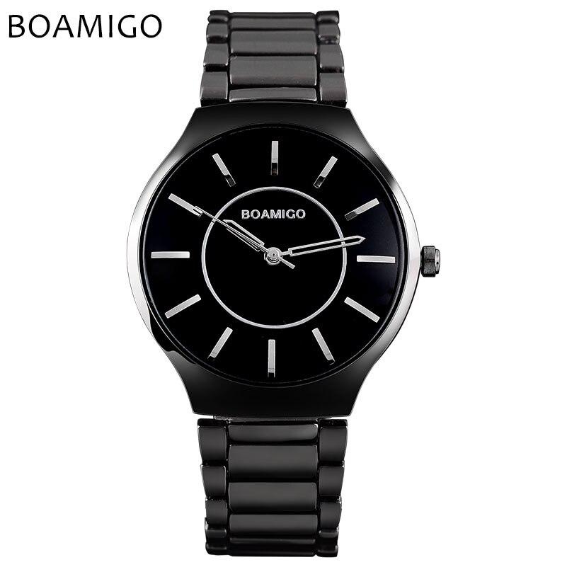BOAMIGO brand men quartz watch black steel wristwatches fashion casual dress business clock male waterproof Relogio Masculino