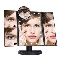 Três Folding 22 LED Luz Espelho de Maquiagem Com 2X/3X/10X de Ampliação Espelho Ajustável Espelho Bancada de Mesa USB 180 Rotativo