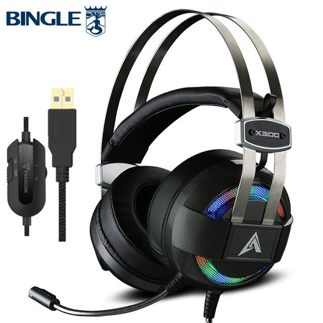 Glowing Titanium 7.1 Surround Sound Usb Gaming Headphones Gamer Headsets With Microphone For PC,PS4,Xbox One,360,Playstation 4