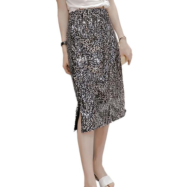 2f09ed59115 2018 Fashion Sexy Split Sequin Skirts Womens Summer High Waist Pencil Long Skirt  plus size skirt faldas mujer jupe femme
