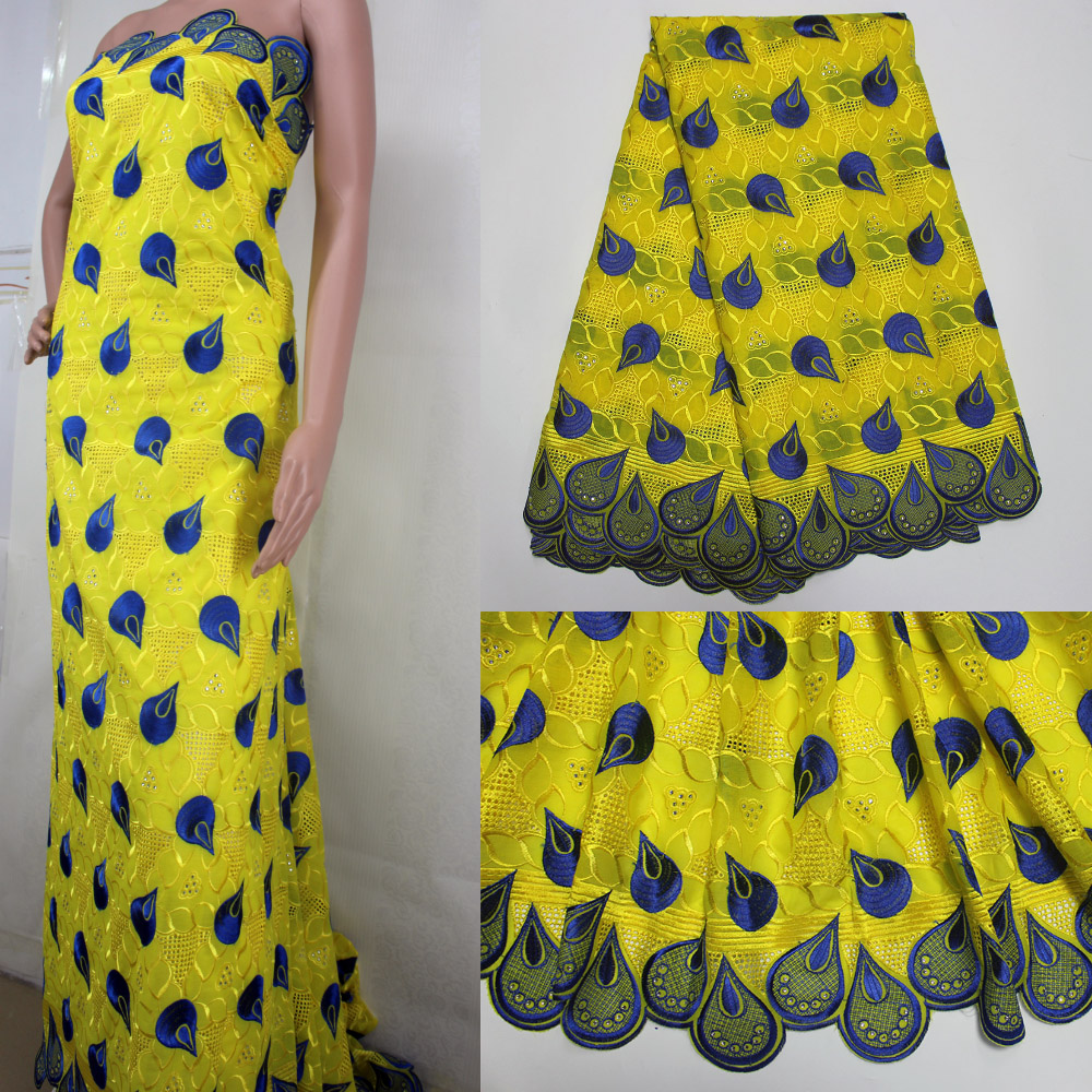 Latest Yellow Fabric High Quality African Swiss Voile Lace For Women - Arts, Crafts and Sewing