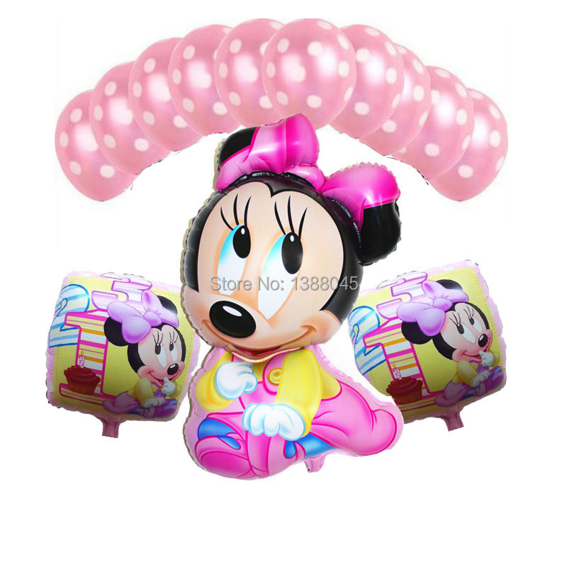 13pcs/lot Minnie Mouse Birthay Party Decoration Foil Balloons Kids Event Party D