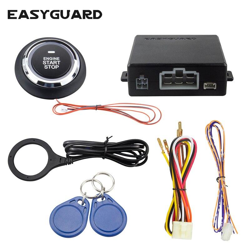 Easyguard RFID système d'alarme de voiture avec transpondeur antidémarrage smart push start bouton mode valet keyless go système pour DCV voitures