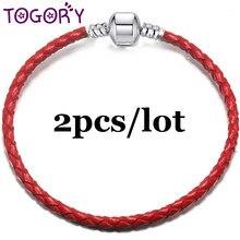925a300f4c31 TOGORY 2 unids lote 4 MM ronda de cuero trenzado Pu pulseras del encanto  para las mujeres se ajusta cuentas DIY Pandora pulseras.