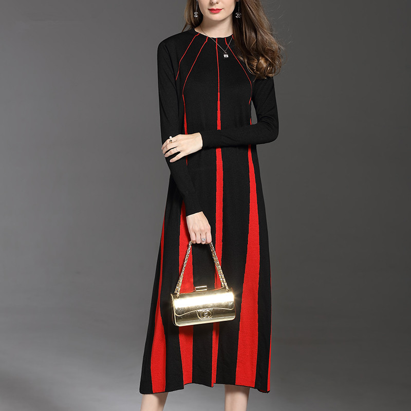 Ayunsue Femmes Chandail Tricoté With black Automne Féminine Red Hiver Longues Robe White Laine Black 2018 Casual Pour Mode Robes Wyq1048 vwRPxvr