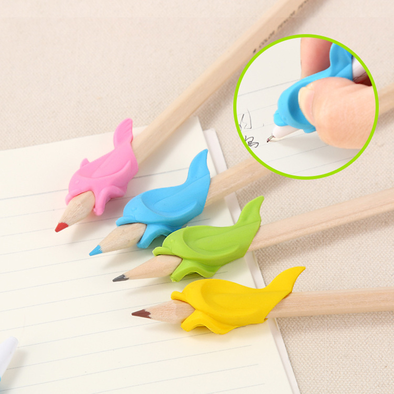 5 Pcs Silicone Dolphin Fish Hold Drawing Pencil Children's Creativity Kids Students Pencil Writing Drawing Protect Finger Toys