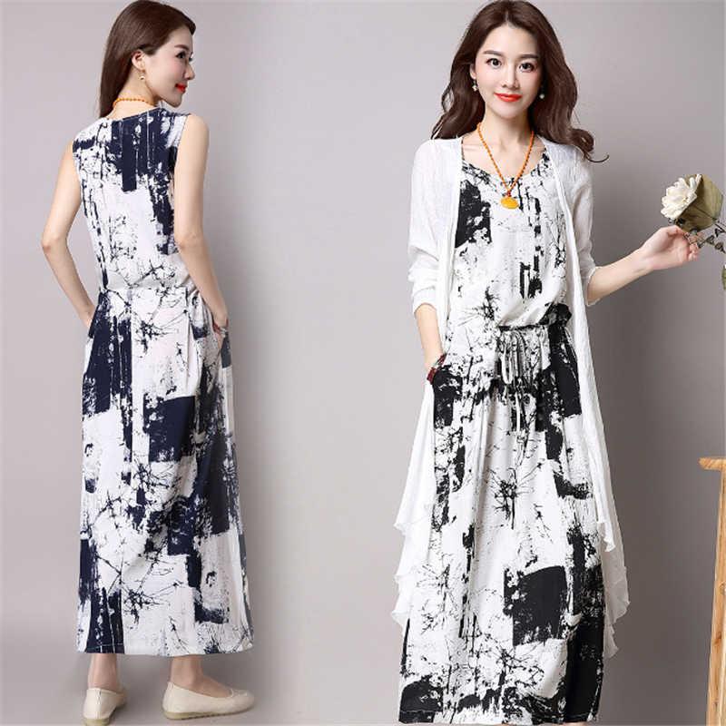 Women Summer Dress Cardigans Jacket 2 Pieces Chinese Style Long Dress  Vintage Print Maxi Dress Casual Dresses Vestido