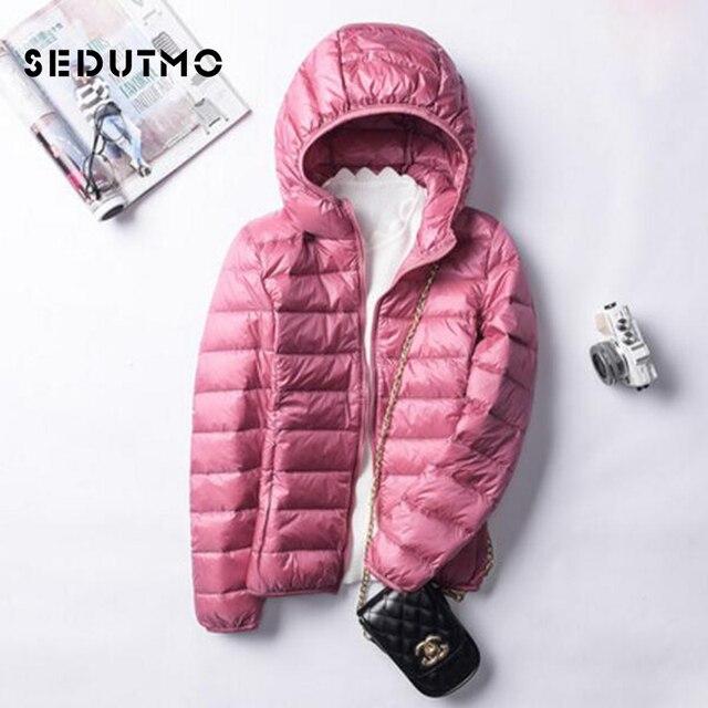 bbf9fbf35 US $22.03 53% OFF Aliexpress.com : Buy SEDUTMO Winter Ultra Light Womens  Down Jackets Short Plus Size 3XL Duck Down Doat Slim Hooded Puffer Jacket  ...