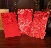 Chinese Button Dragon Plum Peony Pattern Chinese Double Round Button Wedding Cloth Red Packets Gift Envelopes