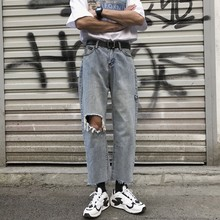 Spring New Jeans Men Fashion Casual Tear Hole Denim Pants Man Streetwear Trend Wild Hip Hop Loose Jeans Ninth Pants Male Clothes