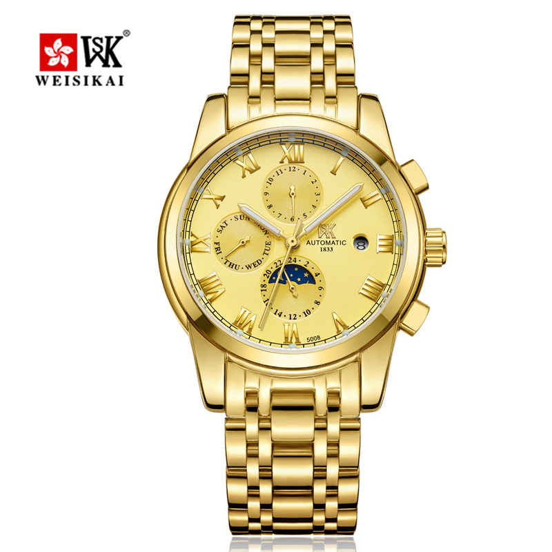 WEISIKAI Luxury Brand Mens Automatic Mechanical Watch Male Business Wristwatch Waterproof Double Calendar Watches Masculino New business men double tourbillon mechanical watches luxury brand male calendar waterproof watch automatic self wind wristwatch