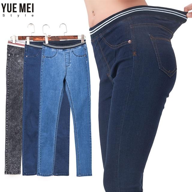 Fashion Leggings Blue S 6XL 2016 Woman Mid Waist Plus Size women High Elastic Full Length Pants Skinny pencil Jeans Femme
