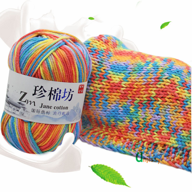 Fancy Yarn For Knitting Pad Dyed Cotton Blended 1p=50grams Mix Colorful Crochet Yarn Suggest Needle 3mm
