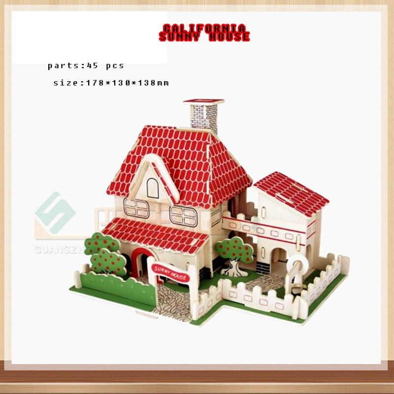 3d мульти-типа здание головоломки игрушки деревянный дом замок строительство DIY ручной работы puzzlestoy детская IQ развивающие Игрушечные лошадк...
