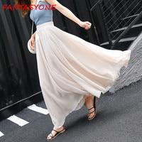FANTASYONE 2017 Women Chiffon Long Skirts Elastic Waist Pleated Maxi Skirts Beach Boho Vintage Summer Skirts Black Faldas Saia
