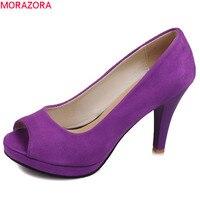 MORAZORA 2018 new arrival platform shoes peep toe slip on shallow extreme high heel flock elegant casual female pumps