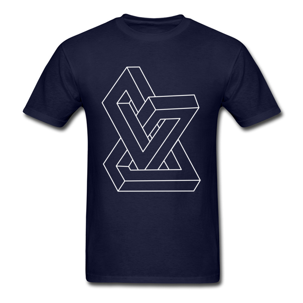 Cheap Men T-Shirt Crew Neck Short Sleeve All Cotton Design Tees Personalized Clothing Shirt Free Shipping Optical illusion   Impossible figure navy
