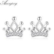 ANENJERY – boucles d'oreilles en argent Sterling 925 pour femme, jolies boucles d'oreilles en forme de couronne et Zircon, bijoux à la mode
