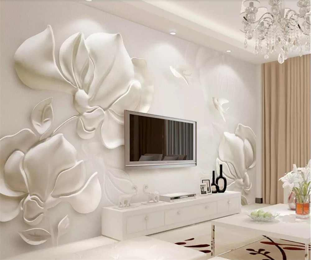 beibehang Custom wallpaper 3d murals papel de parede plaster embossed magnolia flowers birds white background wall paper behang