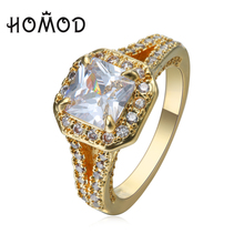 HOMOD Luxury Newest Gold color Wedding Rings For Women Jewelry In Cubic Zirconia Men Accessories