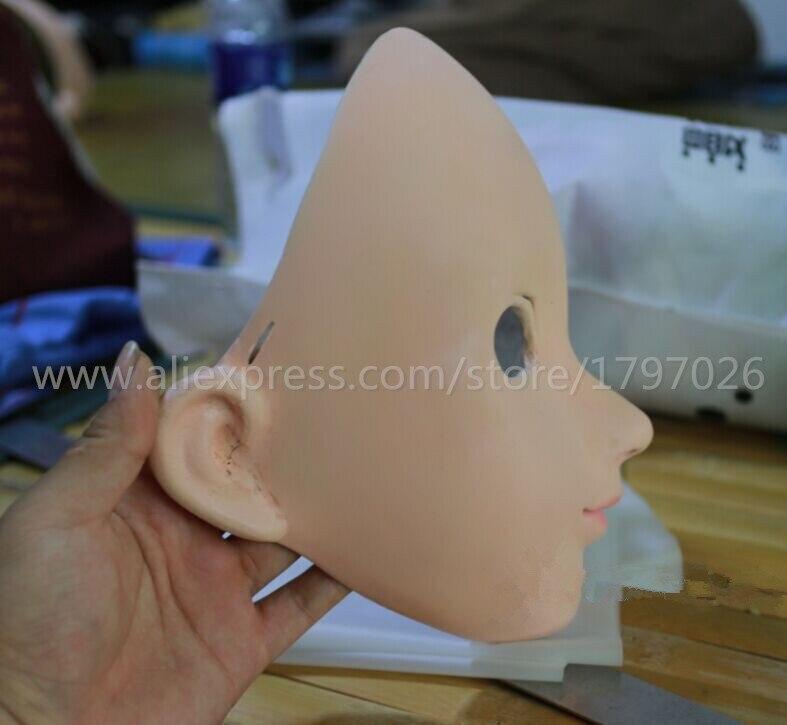 Kigurumi cara Cosplay de silicona media cabeza máscara ojos verdes Anime japonés papel Kigurumi máscara Handemade - 4