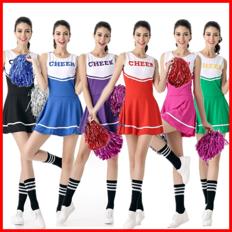 Football Cheerleader Sexy High School Cheerleader Costume Cheer Girls Uniform Party Outfit Sleeveless O-Neck Mini Dresses