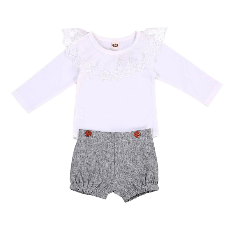 0 to 18M Sweet Newborn Baby Girls Clothes Long Sleeve Romper Top +Lace Shorts 2pcs Outfits Baby Clothing Set