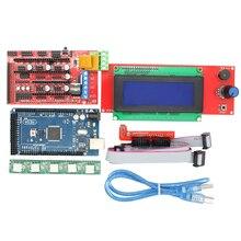Nueva Impresora 3D Kit Mega 2560 R3 + 1 unids RAMPAS 1.4 Controller + 5 unids Módulo Controlador A4988 Stepper/RAMPAS 1.4 2004 de control LCD