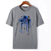 Flevans High Quality Brand Men Tshirts Star Wars Robot R2 D2 Print Summer Cotton O Neck