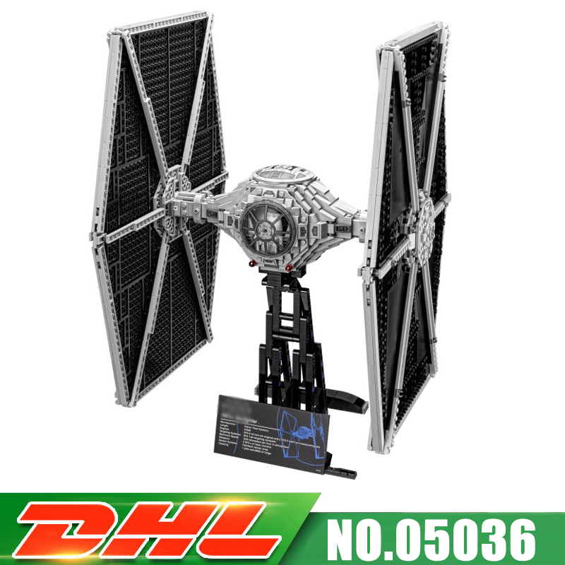 цены Fit For 75095 IN Stock LEPIN 05036 1685Pcs UCS TIE Fighter Model Building Kits Darth Vader Set Blocks Bricks