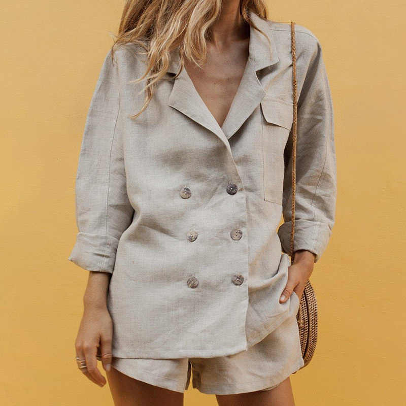 Notched Double Breasted Women's Blazer Sets Long Sleeve Shorts Suit For Office Ladies 2019 Summer Autumn Fashion Female Suits