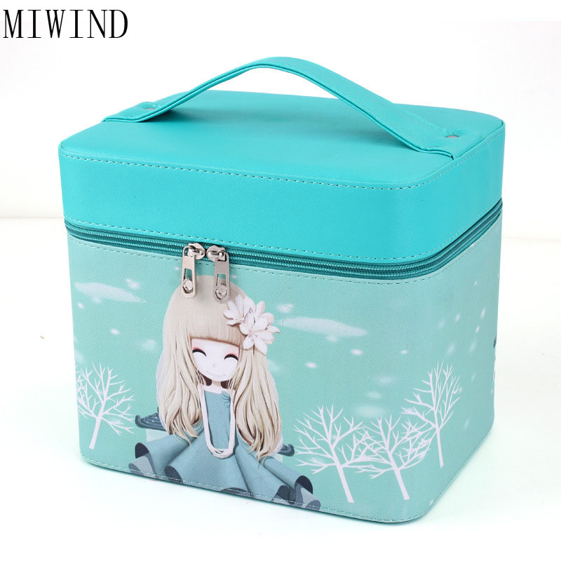 MIWIND Brand Make Up Bags Women Brush Necessaries Cosmetic Bag Travel Toiletry Storage Box Makeup Bag Wash Organizer CasesTPH714 ttou fashion barrel shaped cosmetic bag trip beauty women travel toiletry kit make up makeup case bag wash bags organizer