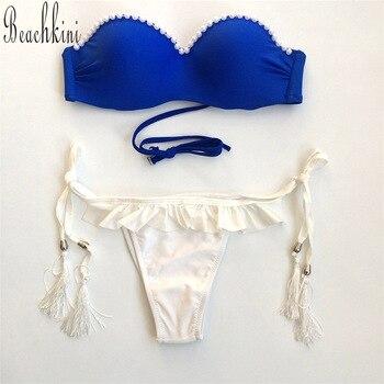 7a28919a4 Trikini bikini set venda swimsuit push up bikinis swimwear Underwire Feita  Pelo Homem Pérola Decoração maiô atacado