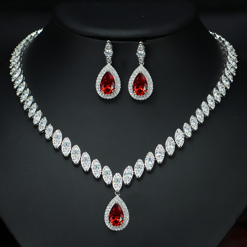 Pear Red White Zircon Copper Plated Silver Ear Jewelry Set Earring Necklace Pendant M02-T0043Pear Red White Zircon Copper Plated Silver Ear Jewelry Set Earring Necklace Pendant M02-T0043