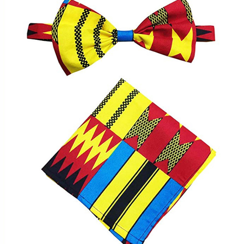 Shenbolen African Men Tie Fashion Cotton Wax Print Fabric Men's Bow Ankara Tie