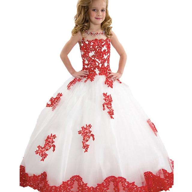 1010808ff Lindo Rojo de Encaje de Flores Vestidos de Las Muchachas 2017 de Tul Blanco  Vestidos Del