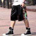 Бесплатная доставка Персонализированные уличные шорты мужчин случайных цвет капри длиной до колен хип-хоп плюс размер коротких штанишках 3xl 6xl 7x l8xl