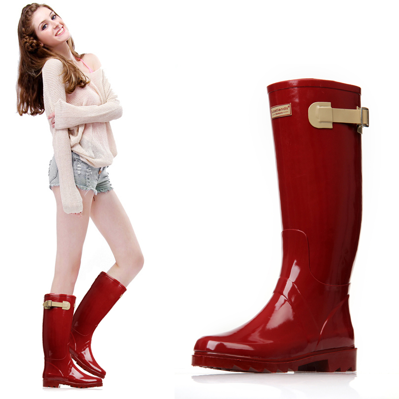Women s high quality red wine wellington boots rubber rain boots waterproof wear antiskid boots for