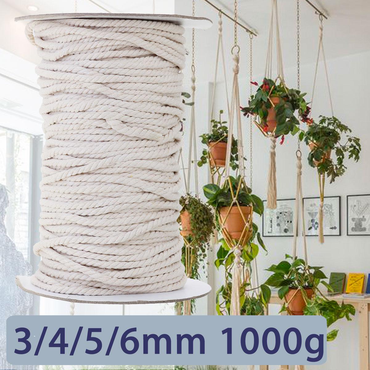 KIWARM 3/4/5/6mm 1000g Bianco Cotone Ritorto Intrecciato Cavo Corda FAI DA TE Tessili Per La Casa accessori Craft Macrame String