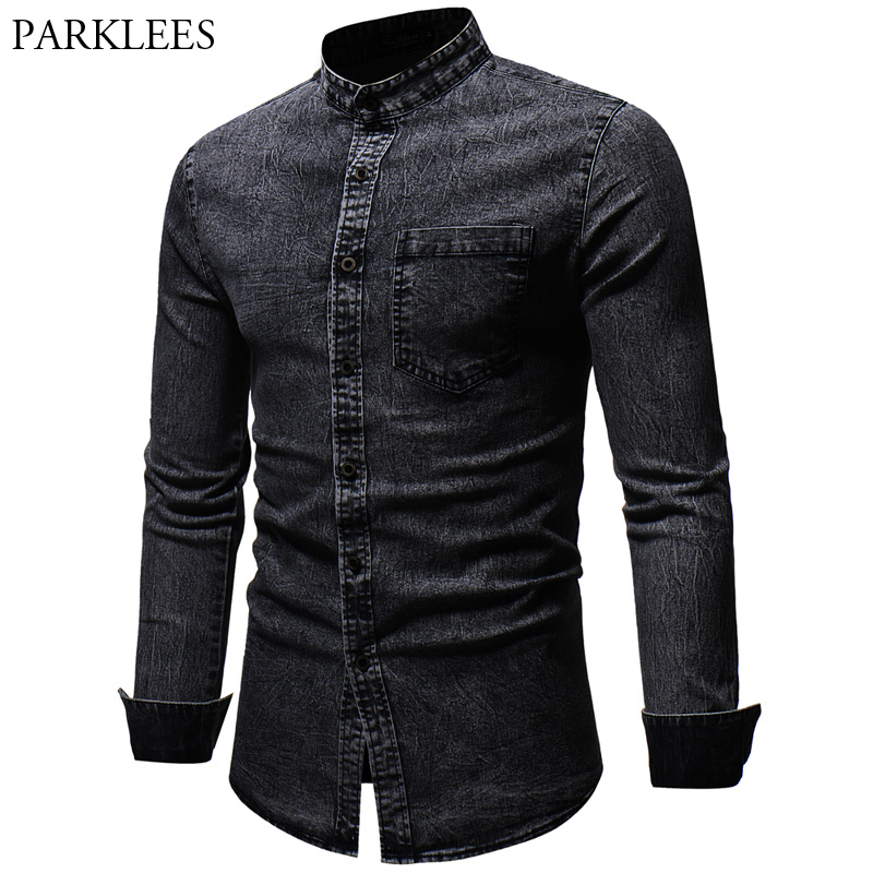 Men's Stand Collar Black Denim Shirt 2018 Autumn New Washed Cotton Slim Fit Jeans Shirt Men Casual Work Easy-Fit Camisa Jeans