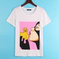Kawaii diy الطباعة ر قميص المرأة لطيف بطة المطبوعة t-shirt فام المرأة أزياء الصيف الشحن مجانا قمم تي شيرت